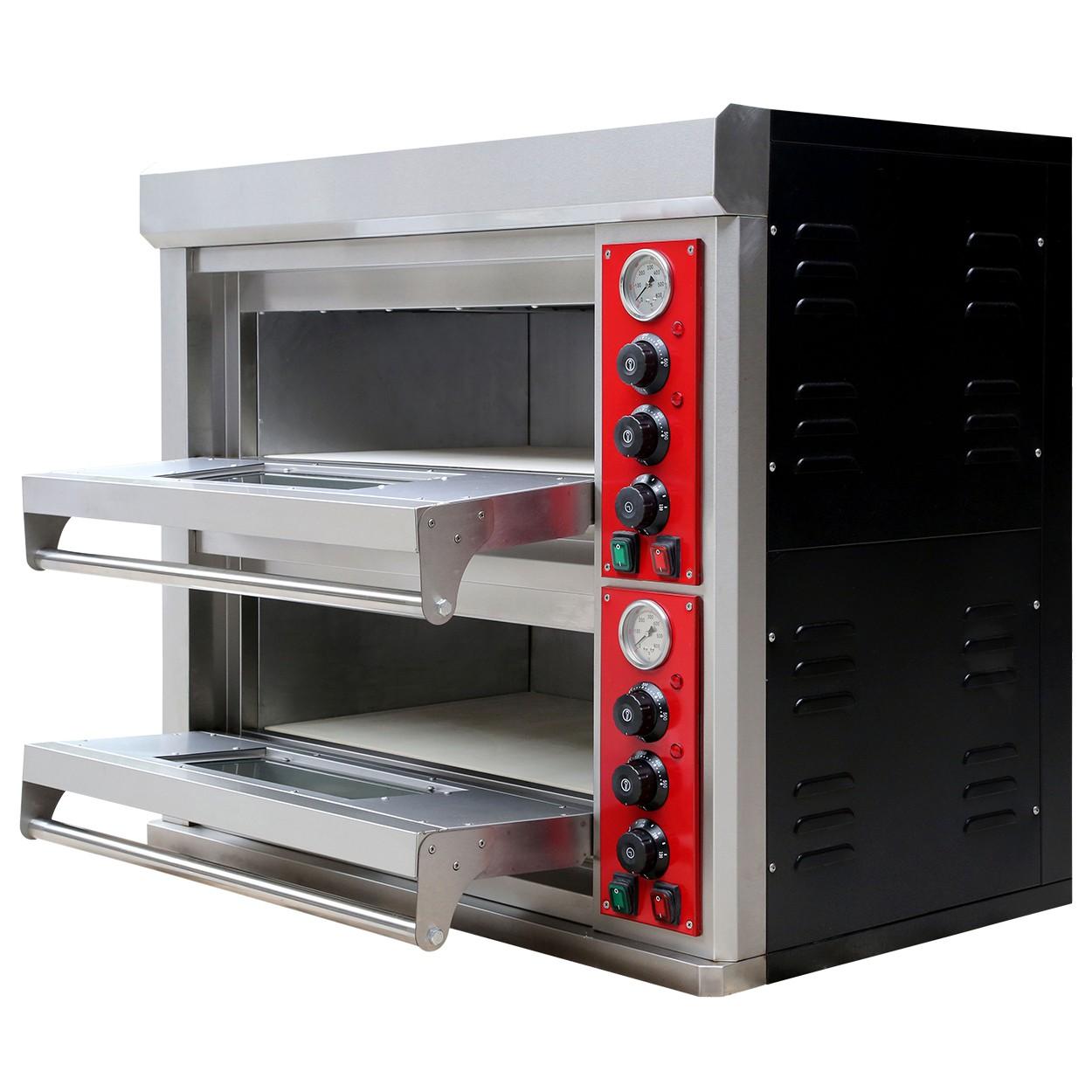 pizzaofen edelstahl 2 kammern 400 v f r die gastronomie ober unterhitze imbiss und pizzeria. Black Bedroom Furniture Sets. Home Design Ideas